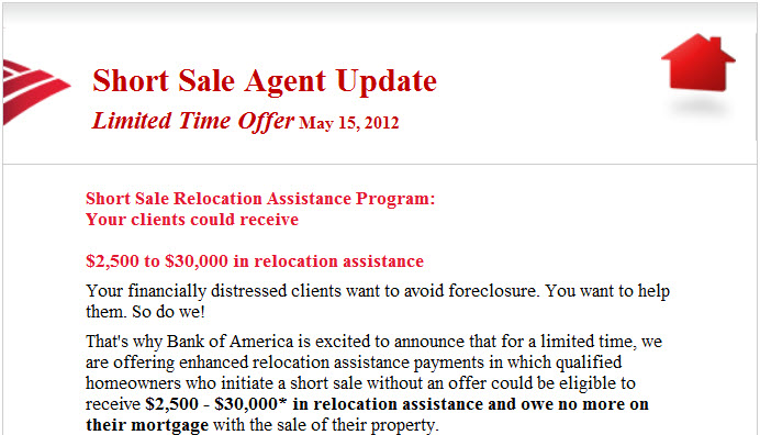 BoA Short Sale Incentive at Closing Letter