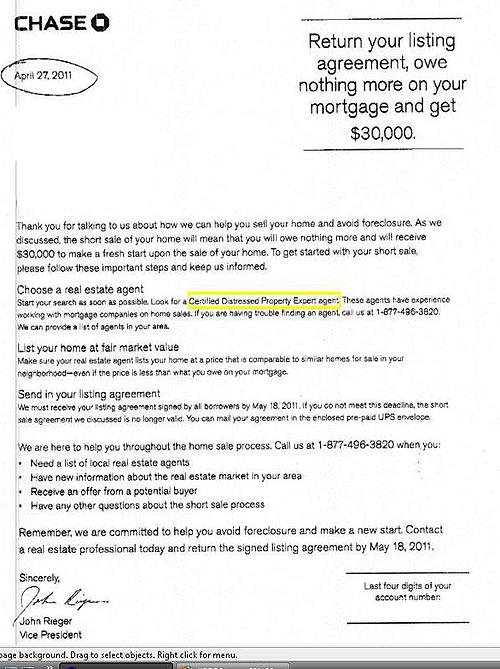 Chase Short Sale Incentive Letter