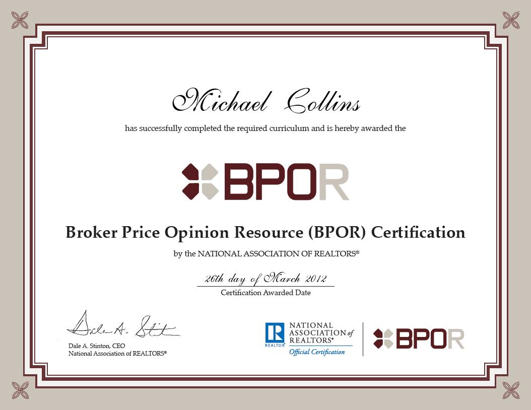 Michael Collins Receives Bpor Certification Rock Realty