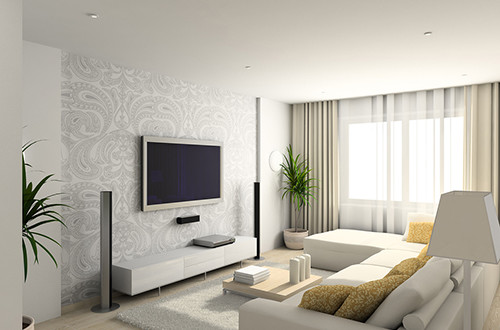 living-room with the modern furniture. 3d render.