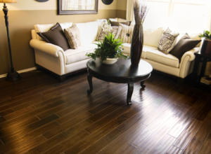 Hard wood flooring in beautiful stylish living room area